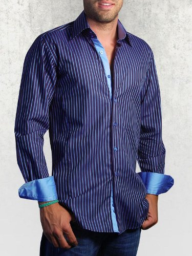 chemise-homme-rayee-bleue